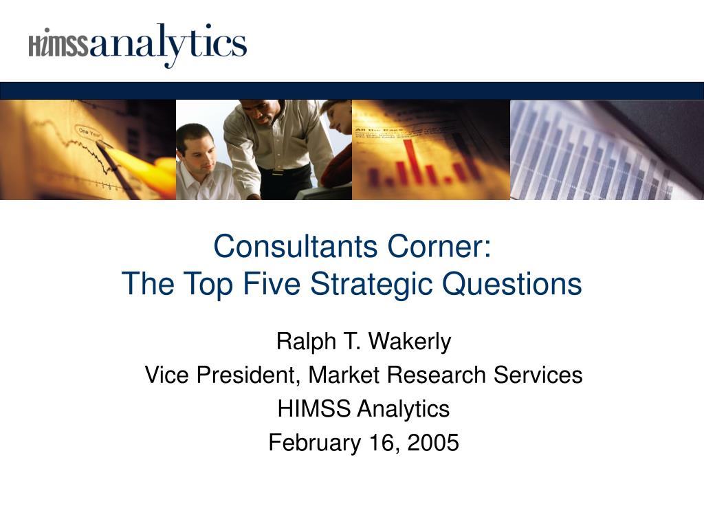 Consultants Corner: