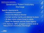 governance patient involuntary discharge