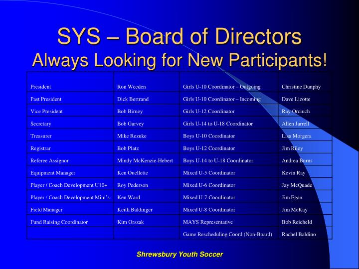 Sys board of directors always looking for new participants