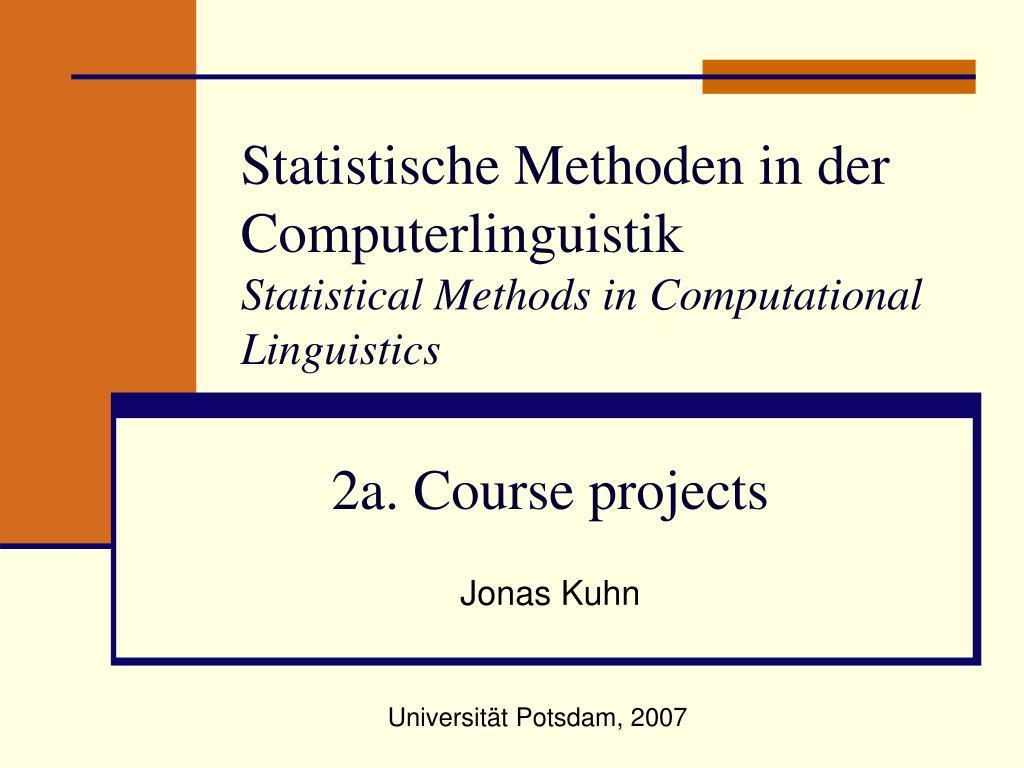 statistische methoden in der computerlinguistik statistical methods in computational linguistics l.