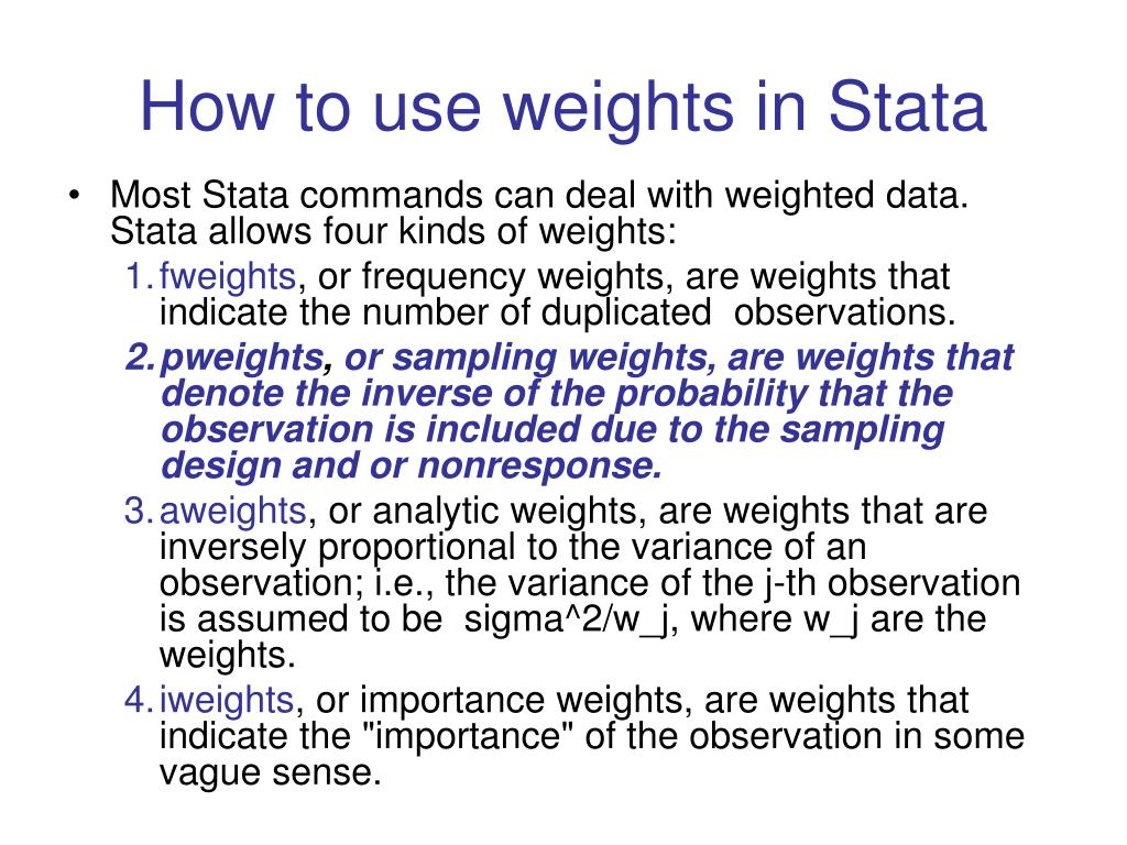 How to use weights in Stata