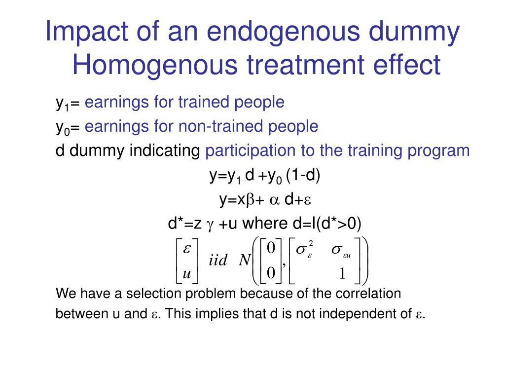 Impact of an endogenous dummy
