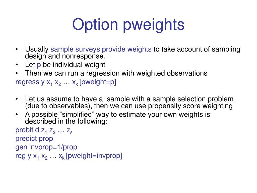 Option pweights