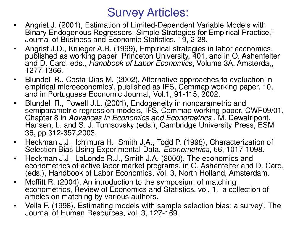 Survey Articles: