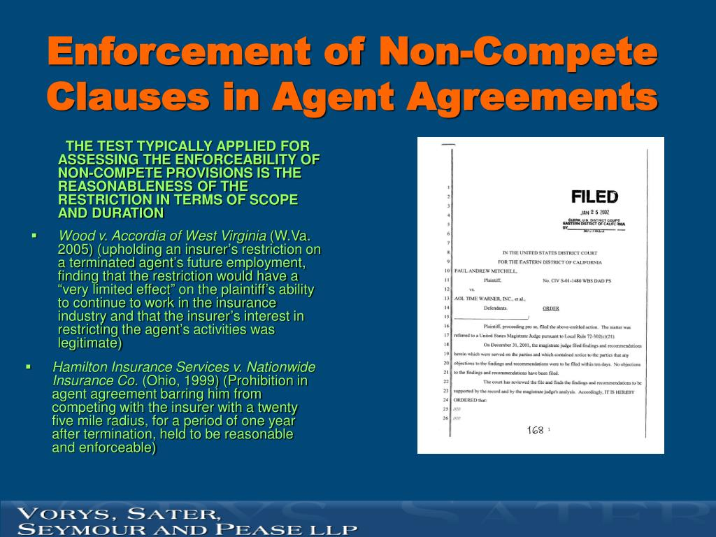 Enforcement of Non-Compete Clauses in Agent Agreements