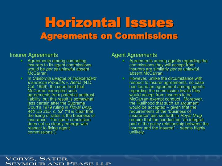 Horizontal issues agreements on commissions