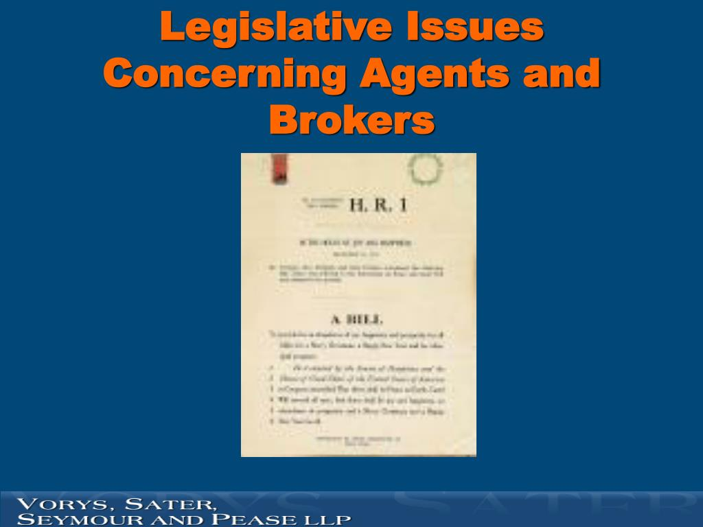 Legislative Issues Concerning Agents and Brokers