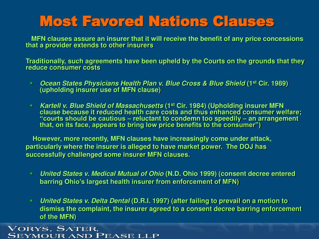 Most Favored Nations Clauses