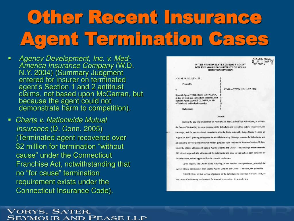 Other Recent Insurance Agent Termination Cases