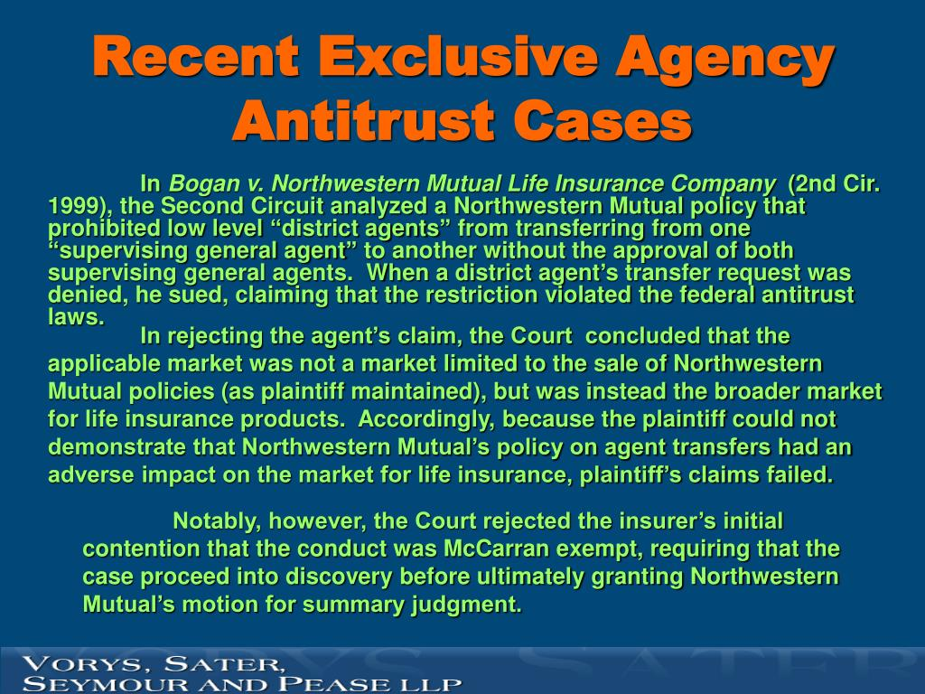 Recent Exclusive Agency Antitrust Cases