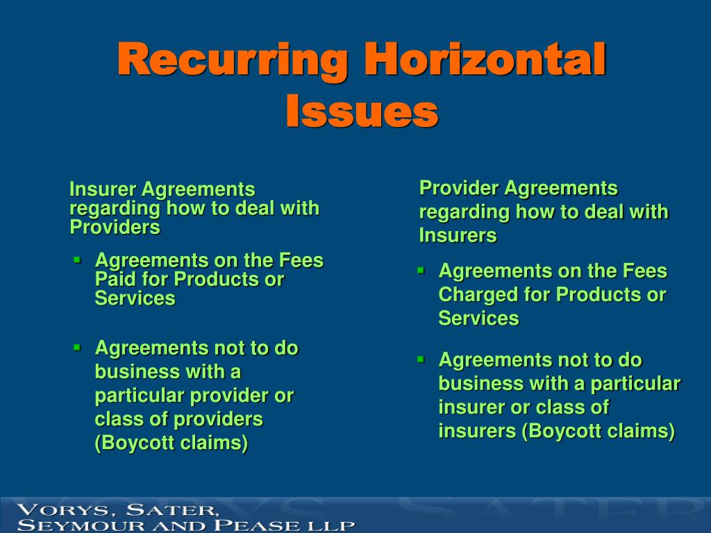 Insurer Agreements regarding how to deal with Providers