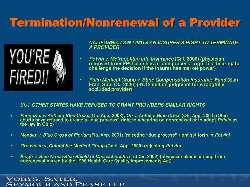 Termination/Nonrenewal of a Provider