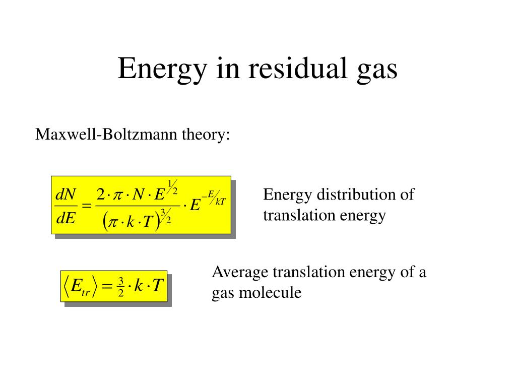 Energy in residual gas
