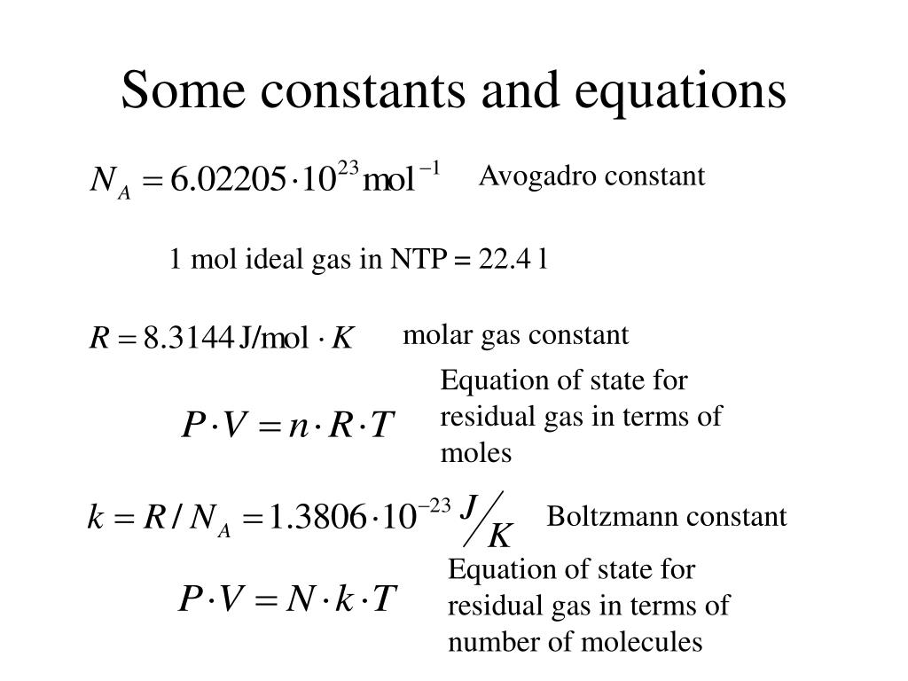 Some constants and equations