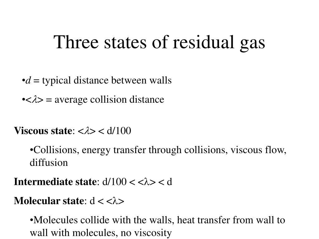 Three states of residual gas