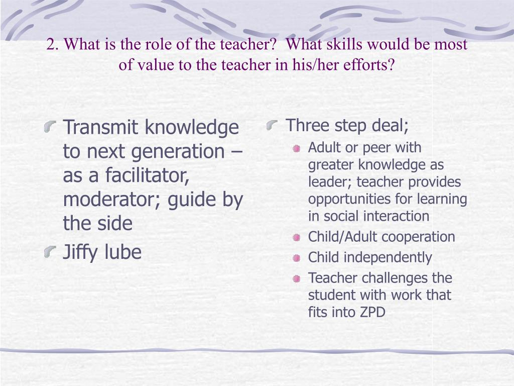 Transmit knowledge to next generation – as a facilitator, moderator; guide by the side