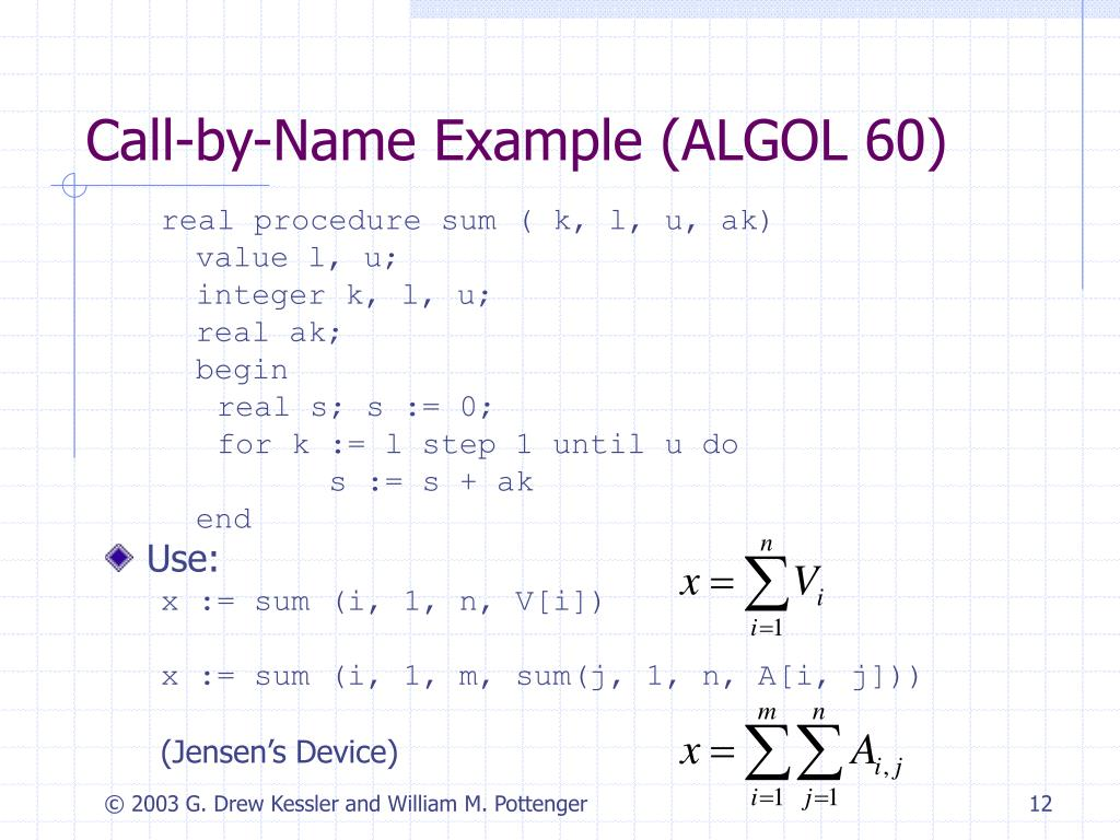 Call-by-Name Example (ALGOL 60)