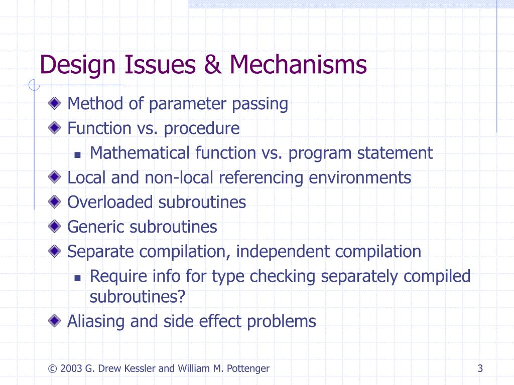 Design Issues & Mechanisms