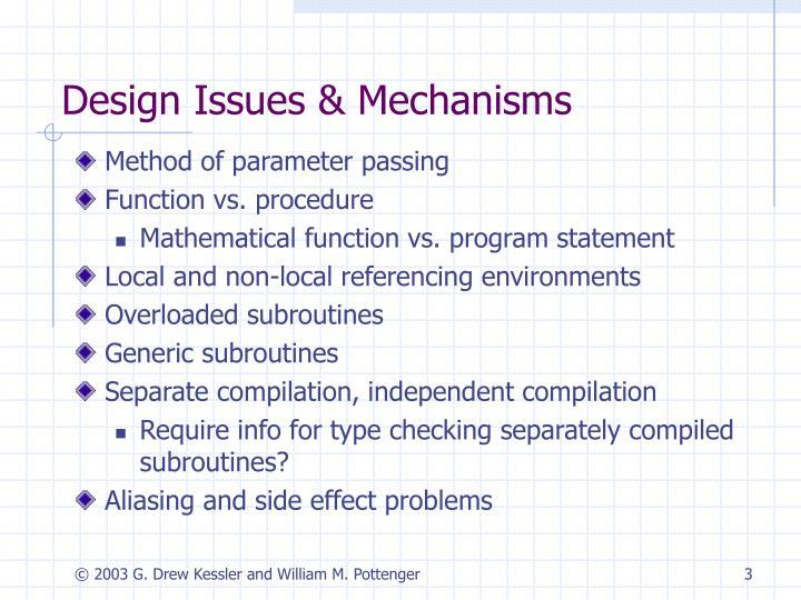Design issues mechanisms