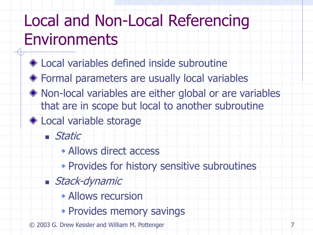 Local and Non-Local Referencing Environments
