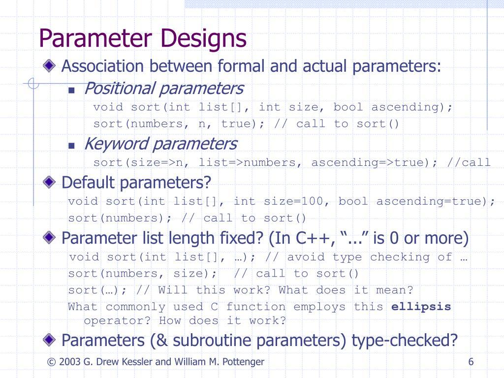 Parameter Designs