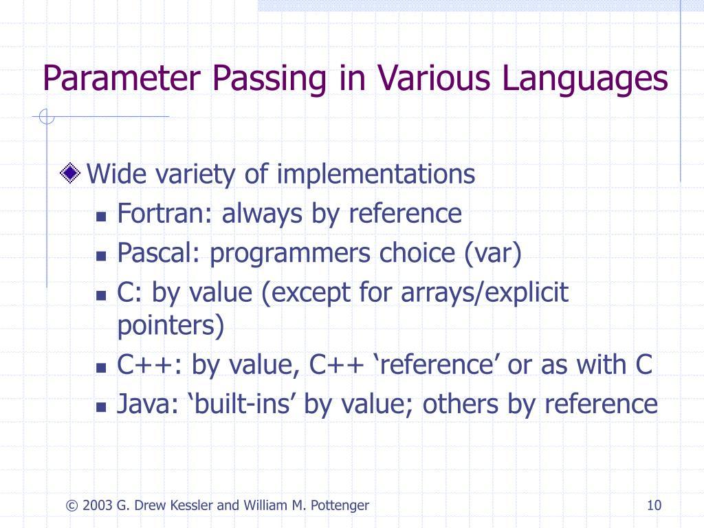Parameter Passing in Various Languages