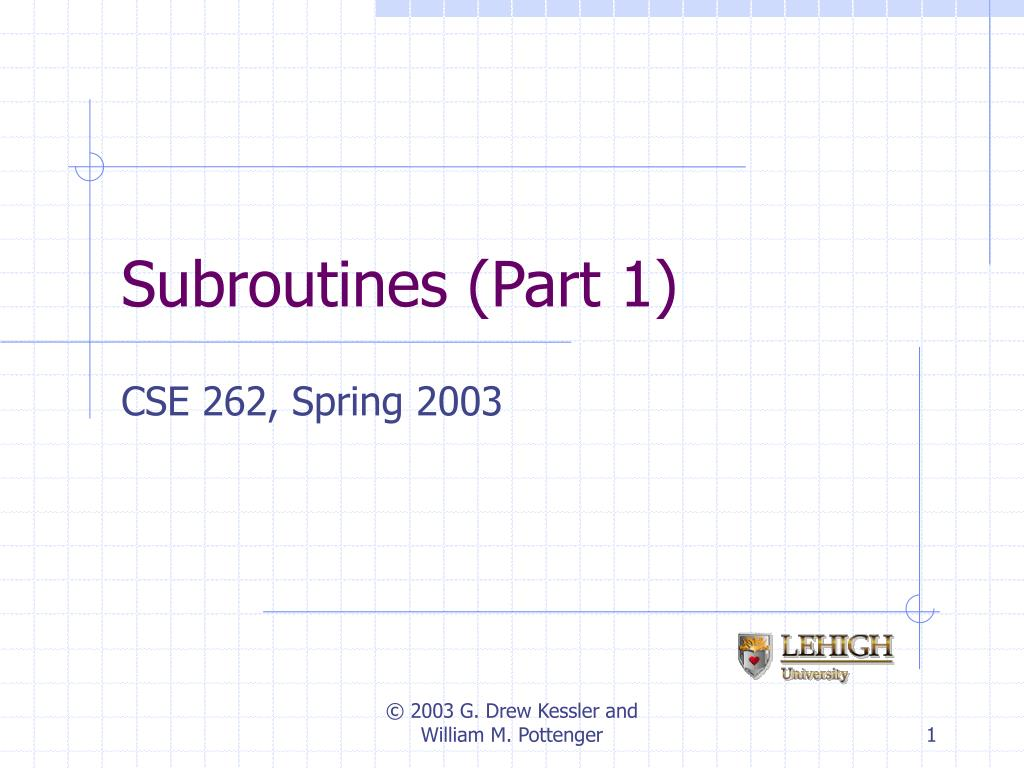 Subroutines (Part 1)