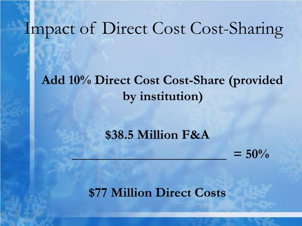 Impact of Direct Cost Cost-Sharing