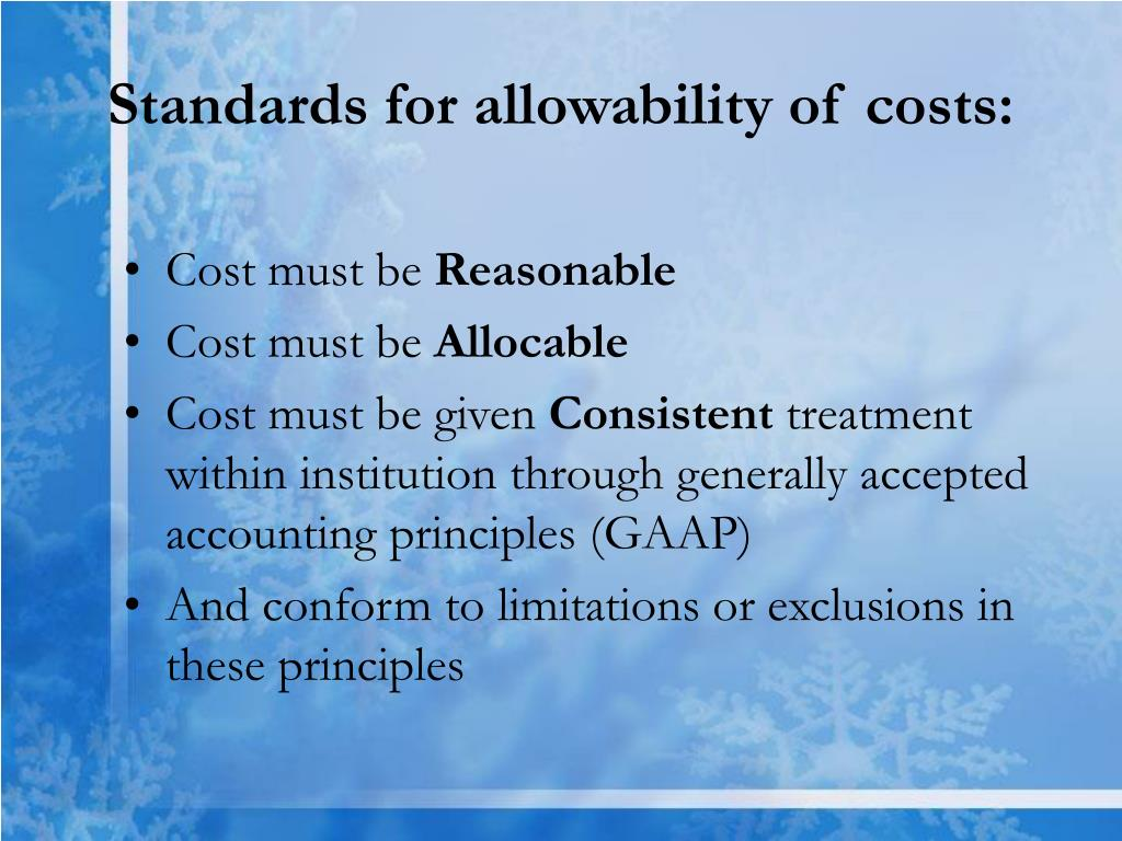 Standards for allowability of costs: