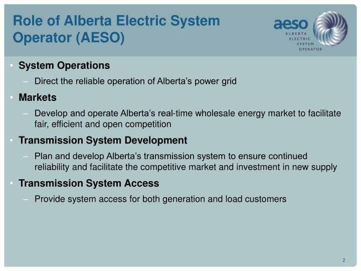 Role of alberta electric system operator aeso