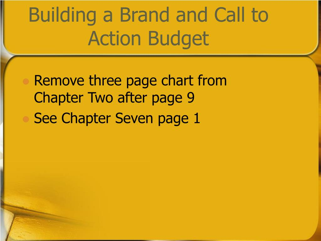 Building a Brand and Call to Action Budget