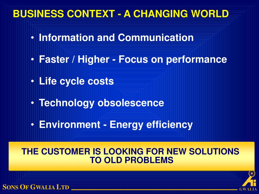 BUSINESS CONTEXT - A CHANGING WORLD
