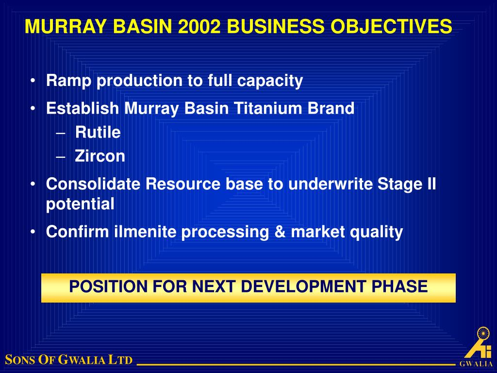MURRAY BASIN 2002 BUSINESS OBJECTIVES
