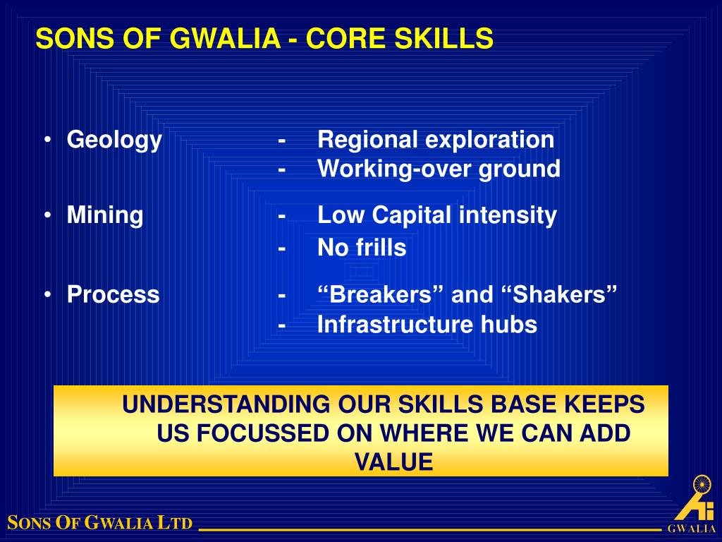 SONS OF GWALIA - CORE SKILLS