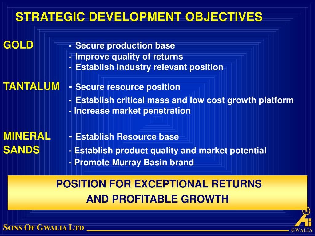 STRATEGIC DEVELOPMENT OBJECTIVES