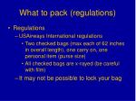 what to pack regulations