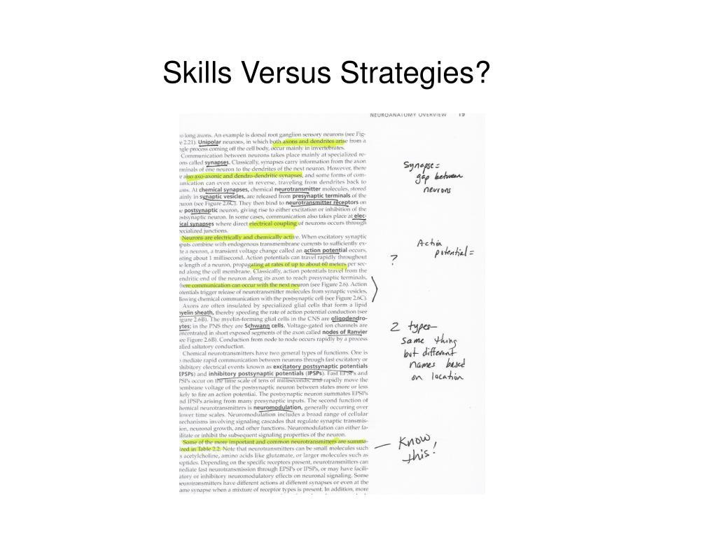 Skills Versus Strategies?
