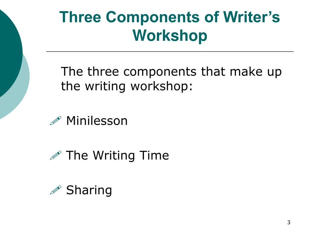 Three Components of Writer's Workshop