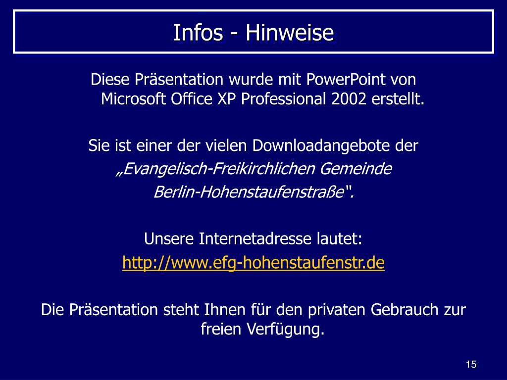 Infos - Hinweise