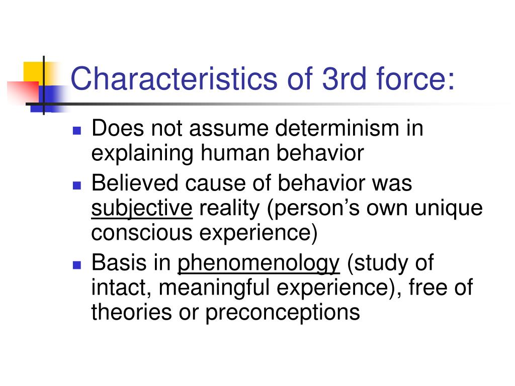 Characteristics of 3rd force: