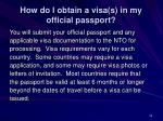 how do i obtain a visa s in my official passport