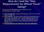 how do i read the visa requirements for official travel listing