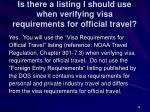 is there a listing i should use when verifying visa requirements for official travel