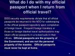 what do i do with my official passport when i return from official travel