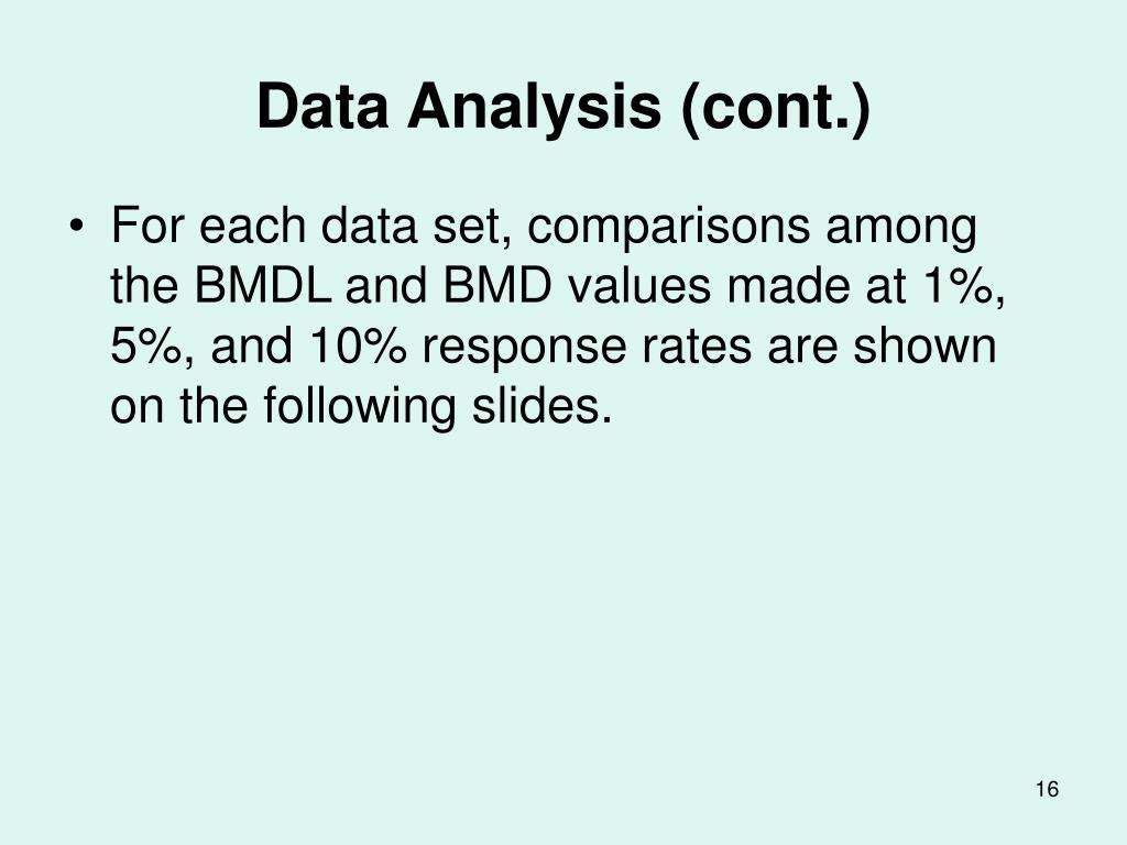 Data Analysis (cont.)