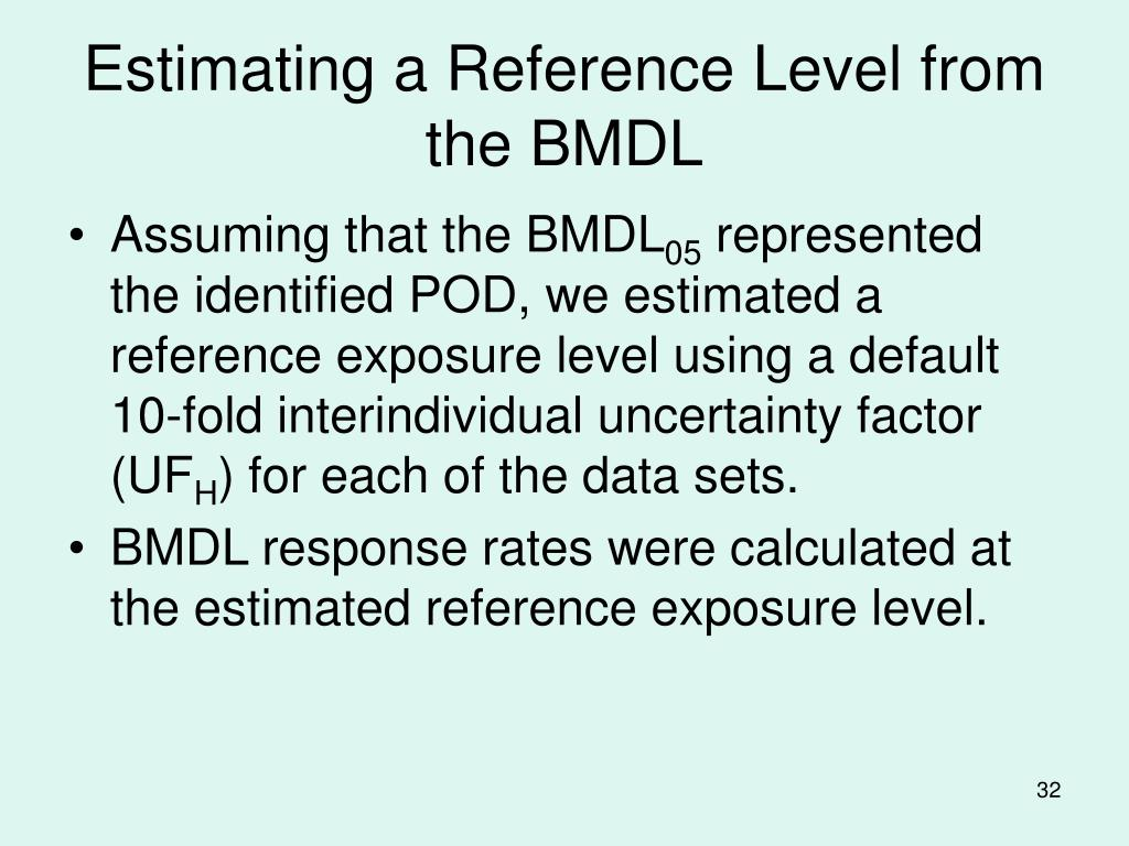 Estimating a Reference Level from the BMDL