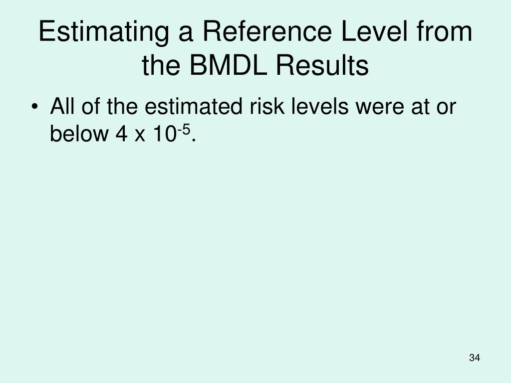 Estimating a Reference Level from the BMDL Results