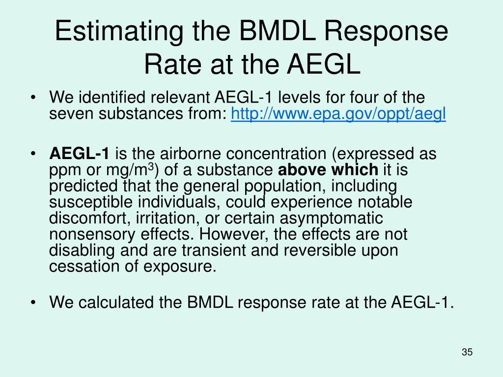 Estimating the BMDL Response Rate at the AEGL
