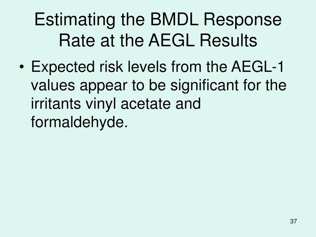 Estimating the BMDL Response Rate at the AEGL Results