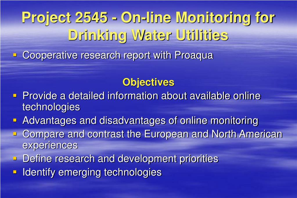 Project 2545 - On-line Monitoring for Drinking Water Utilities